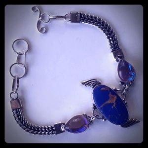 .925 Silver + Blue Copper Turquoise Bracelet